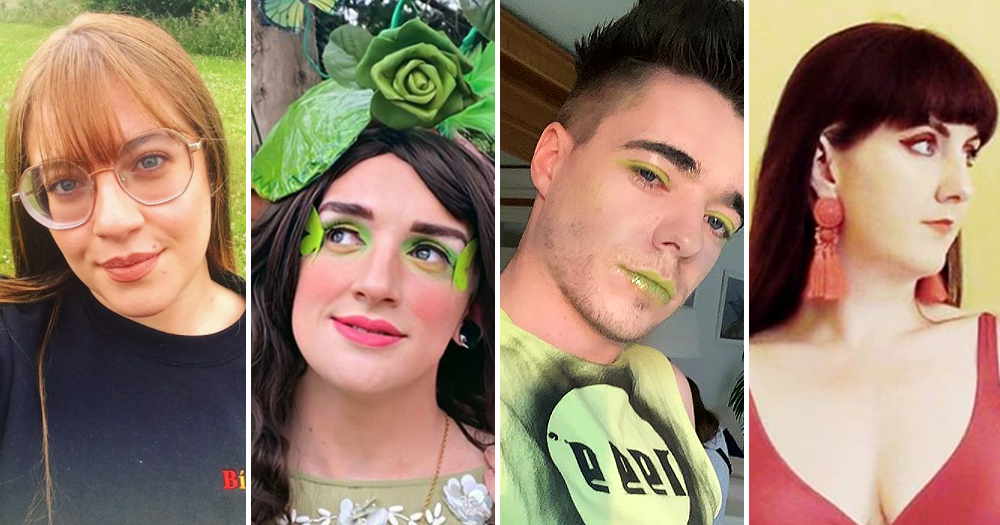 A split screen image of four young people colourfully dressed