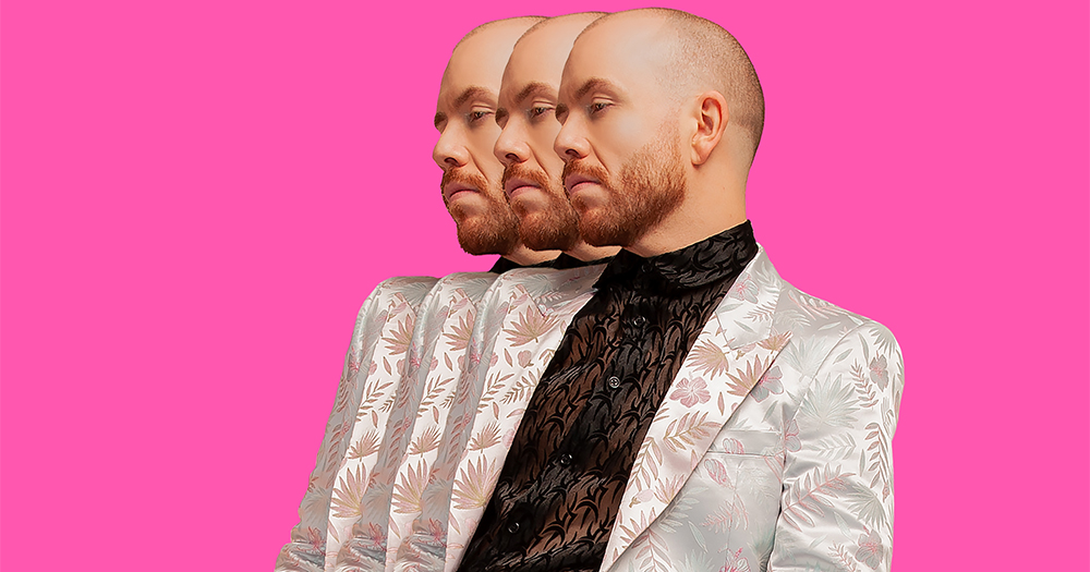 A bald man is layered in multiple images against a colourful background