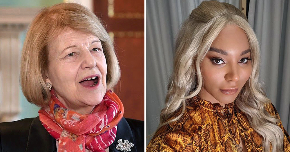 Split screen image with Baroness Nicholson on one side and Munroe Bergdorf on the other