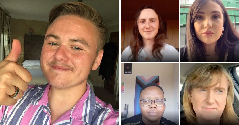 A split screen image of five people on zoom calls