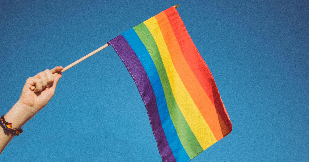 Pride Inside a person's hand seen waving a Pride flag in the air