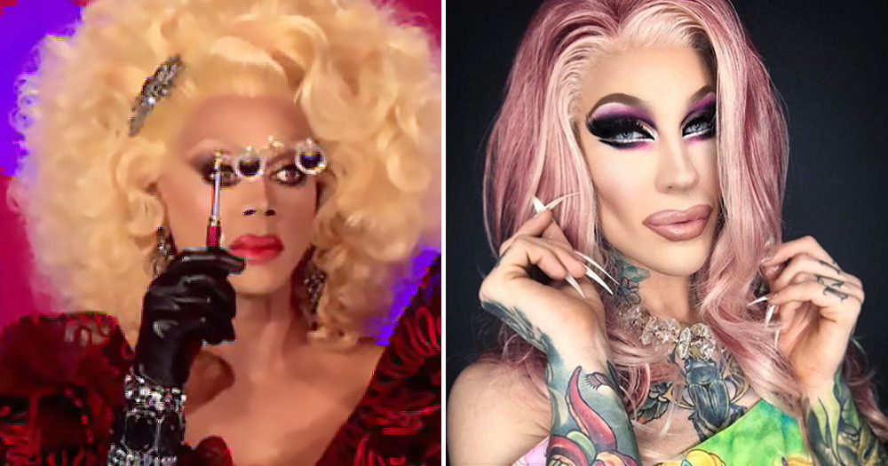 A split screen of two drag queens posing.