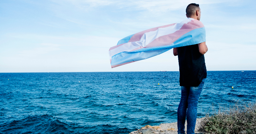 A person standing by the beach holding a trans flag, many people are sharing the #WhyImATransAlly