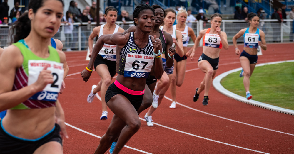 A diverse line up of women take part in a track race