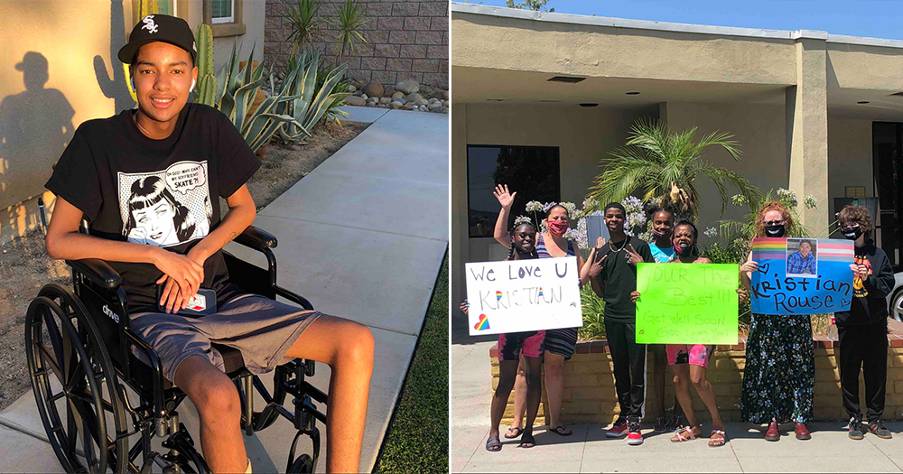 """trans teen left paralysed pictured in wheelchair on left, group of supporter hold placards reading """"we love u Kristian' outside the hospital"""