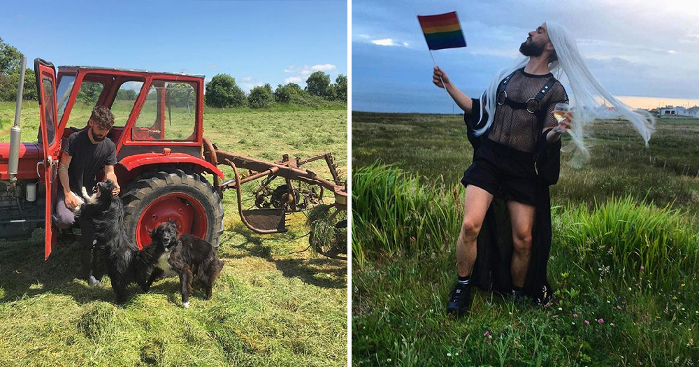 Irish Queer Farmer: Split screen image of a man sitting in a tractor on the left and on the right he is dressed in drag waving a rainbow flag in a field