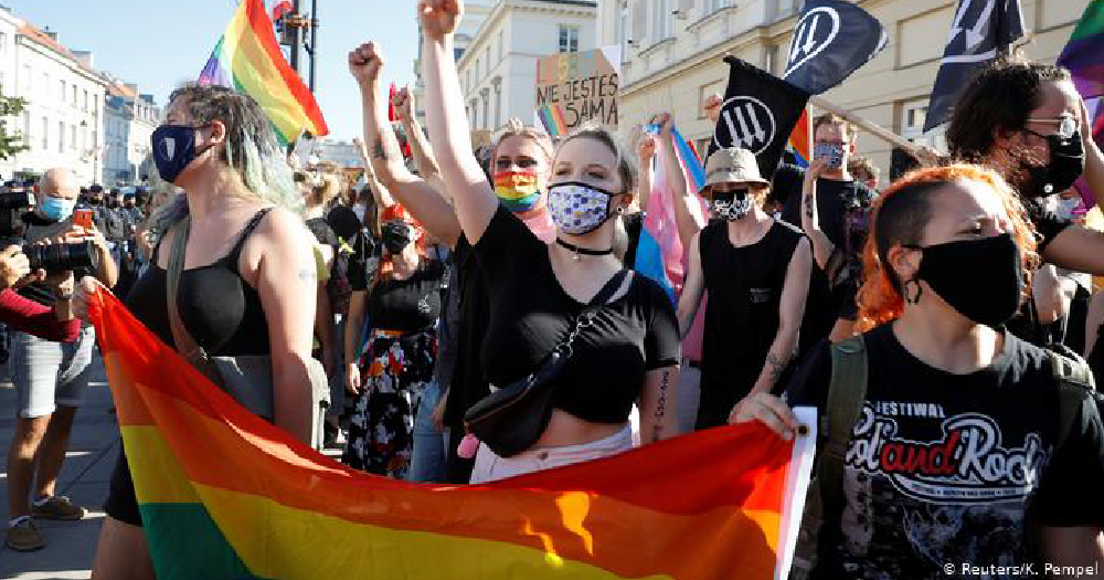 LGBT+ protest Warsaw Poland Pro LGBT+ protesters gesture in a stand-off with nationalists in Warsaw.