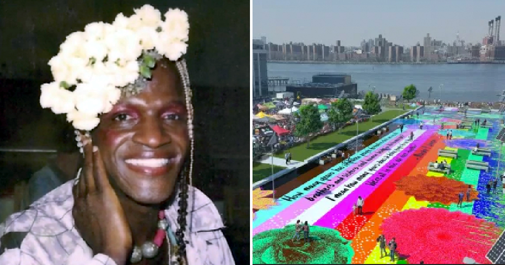 photo of Marsha P. Johnson on the left with a mock up of park on right