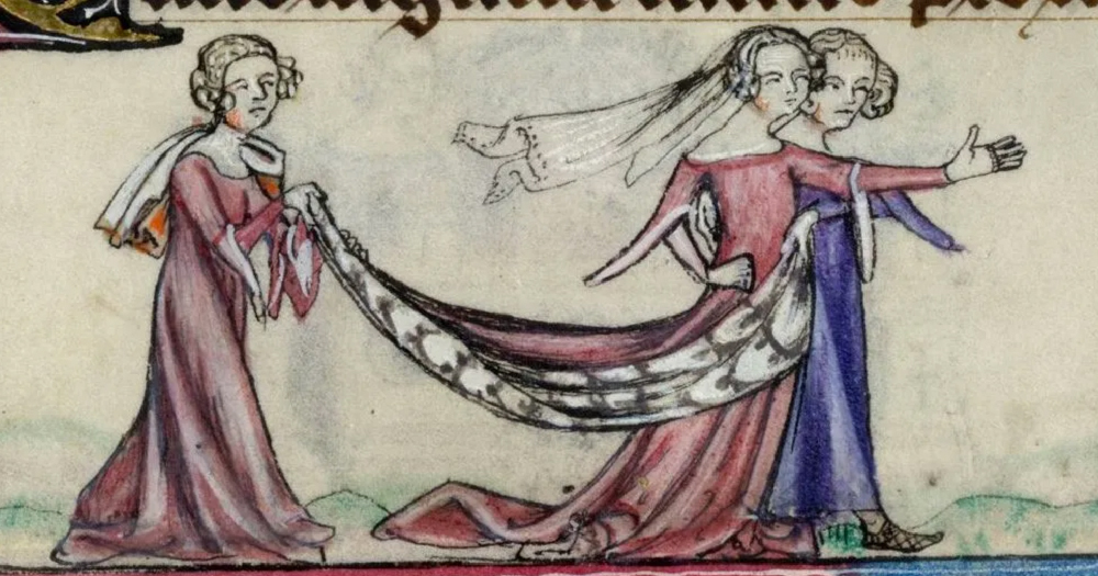 Drawing of a medieval same-sex couple two woman who are embracing