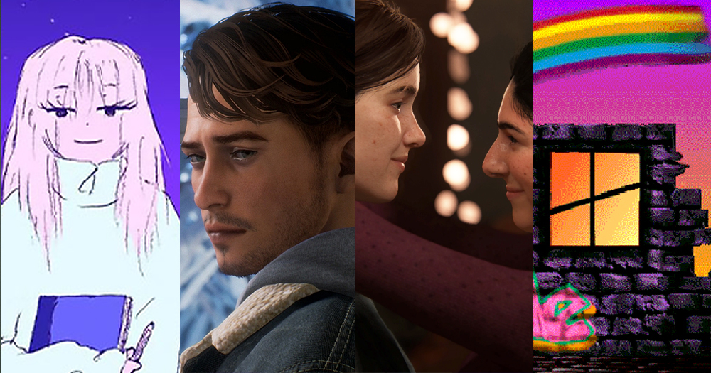 4 screenshots of queer characters from different video games