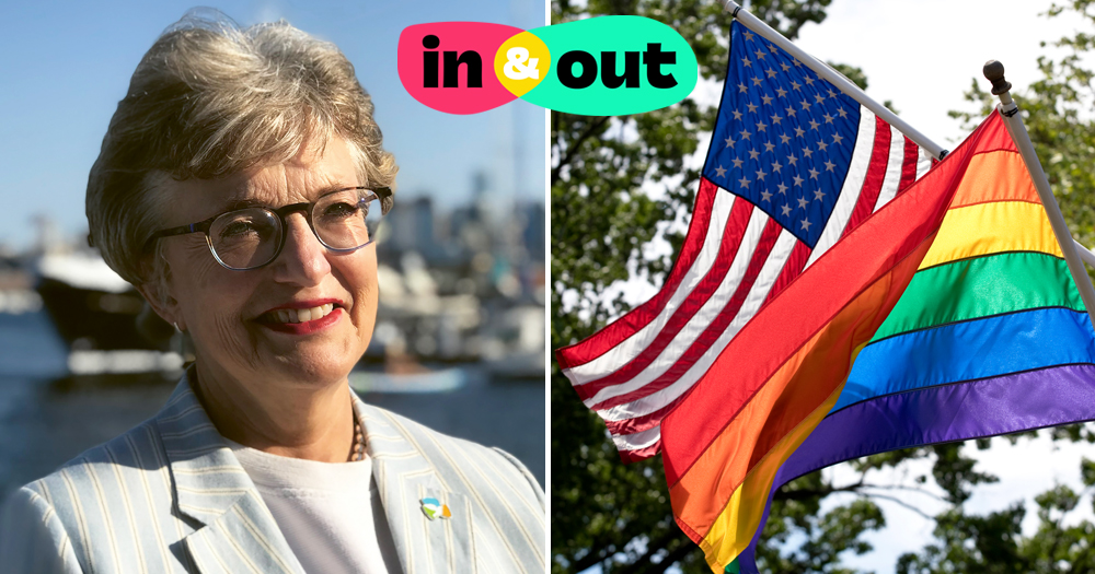 In & Out digital festival logo. Left: Katherine Zappone. Right: American and rainbow flags.