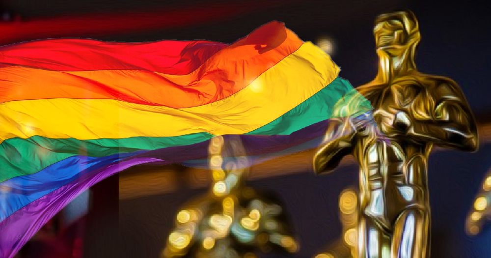 Oscars Best Picture standards RAINBOW FLAG WITH OSCAR STATUE