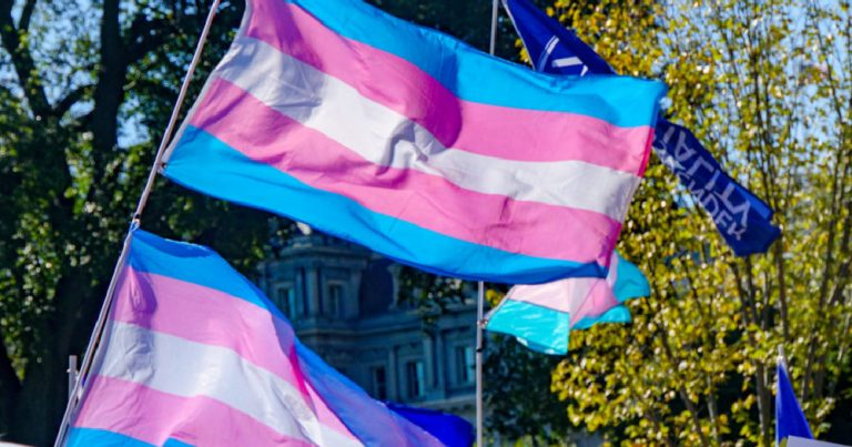 UK Trans two trans flags wave in the wind