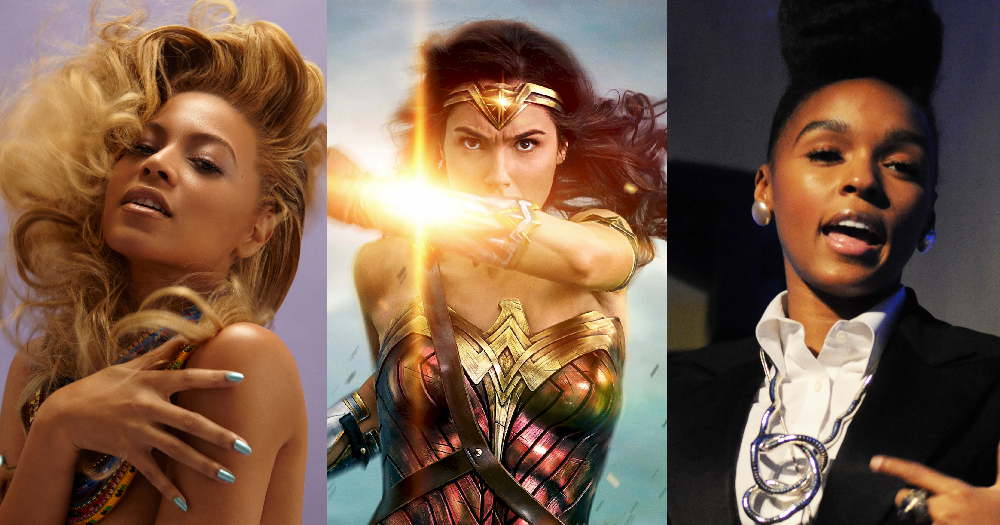 Wonder Woman pictured in the middle of Beyoncé and Janelle Monáe