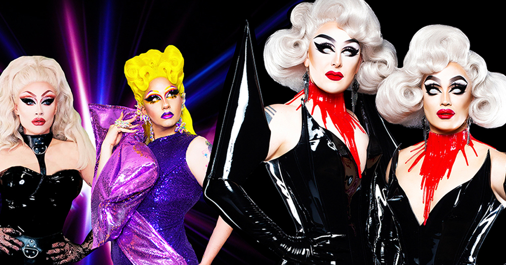 Two glamorous drag queens stand beside two horror themed drag queens