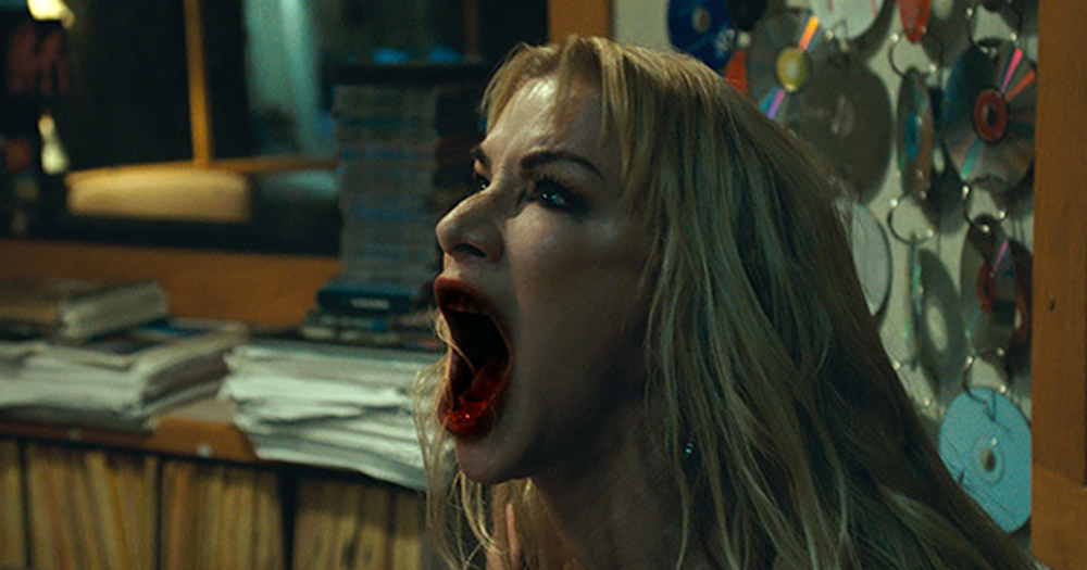 "From from ""Ten Minutes to Midnight"", one of the movies screening at IFI Horrorthon 2020 : woman screaming with blooded lips."