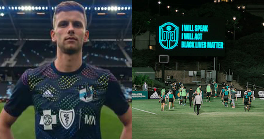 "Soccer player Collin Martin pictured standing on football pitch on left and the team walking off the field with ""I will speak, I will act, Black Lives Matter"" illuminated on the football score screen"