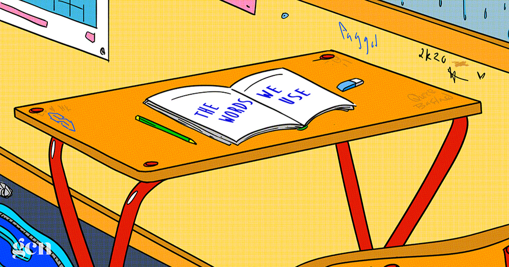 An illustration of a desk in a graffiti covered classroom