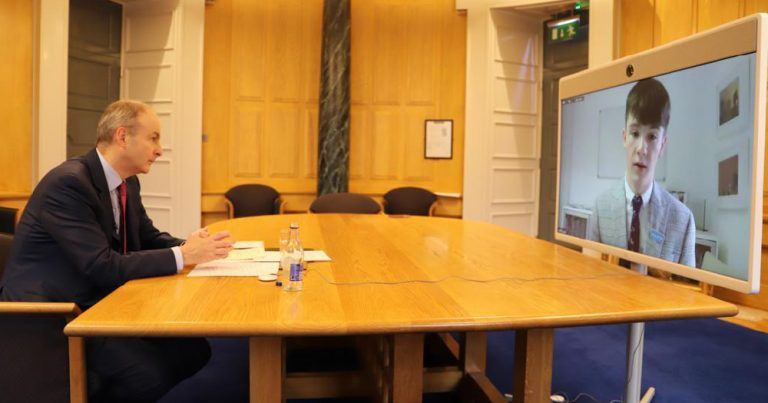 Taoiseach speaks via video conference to teenager Ruari about LGBTQ+ bullying