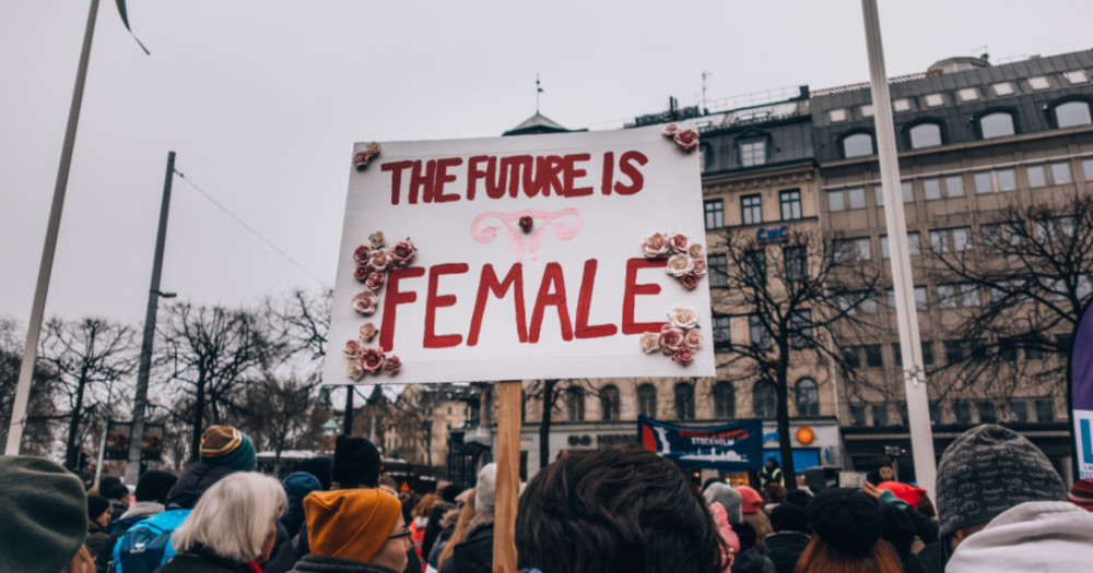 "elimination violence women women's march with sign ""the future is female"", the elimination of violence against women"