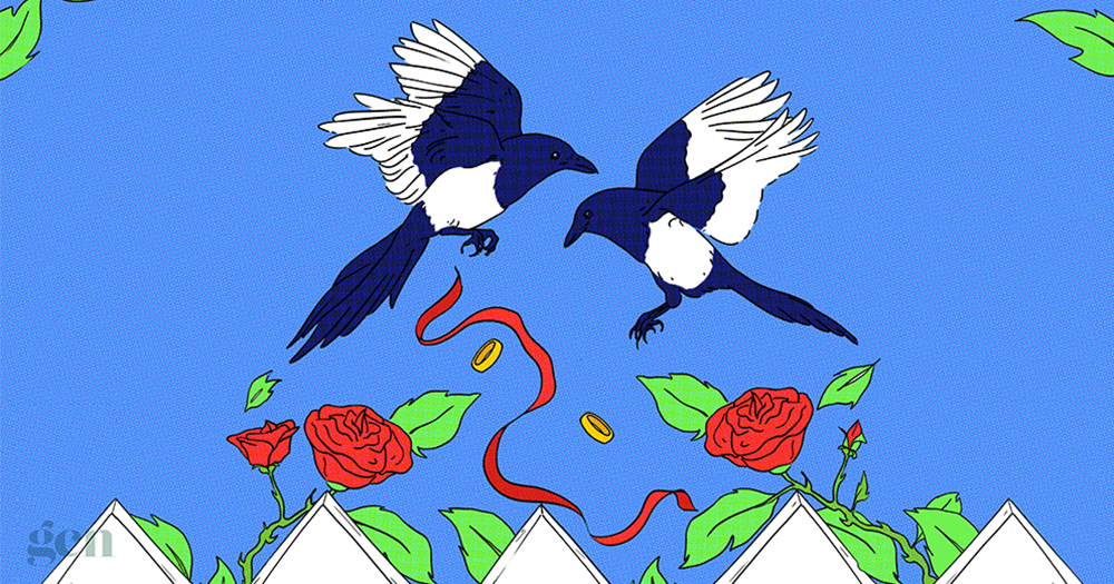 An illustration of two birds flying over roses and ribbons