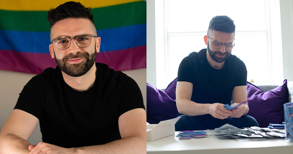 A split screen of a smiling man in front of a rainbow flag and the same man sitting at a table compiling sexual health packs