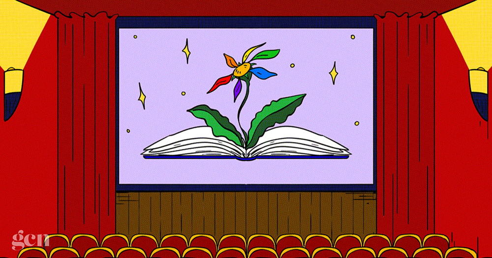 An illustration of a cinema screen featuring a flower growing out of a book