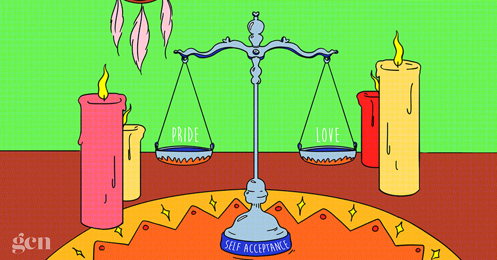 An illustration of scales and candles