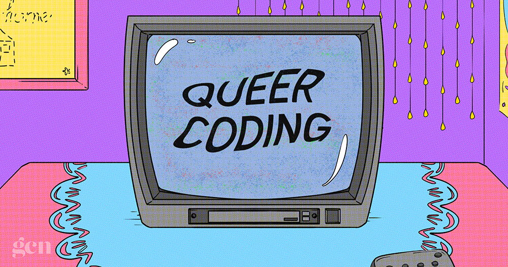 An illustration of a television with the words queer coding on the screen