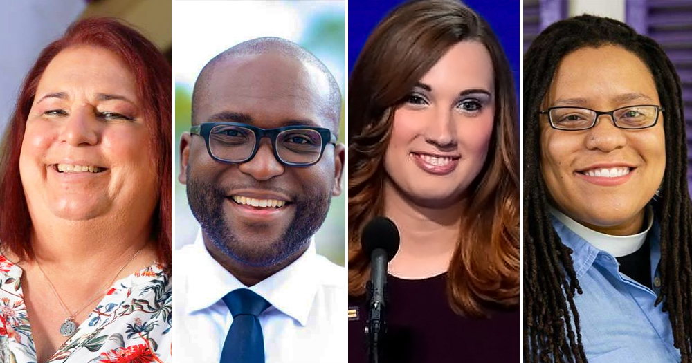 Split screen of 4 queer candidates of US election 2020