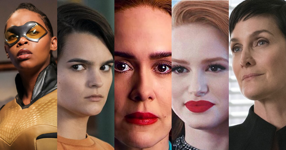 five female lesbian characters from netflix shows in a collage