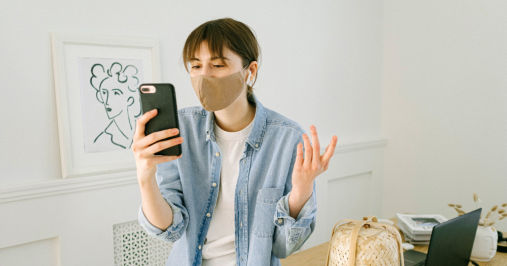 woman with mask angrily talking on the phone, coronavirus different views