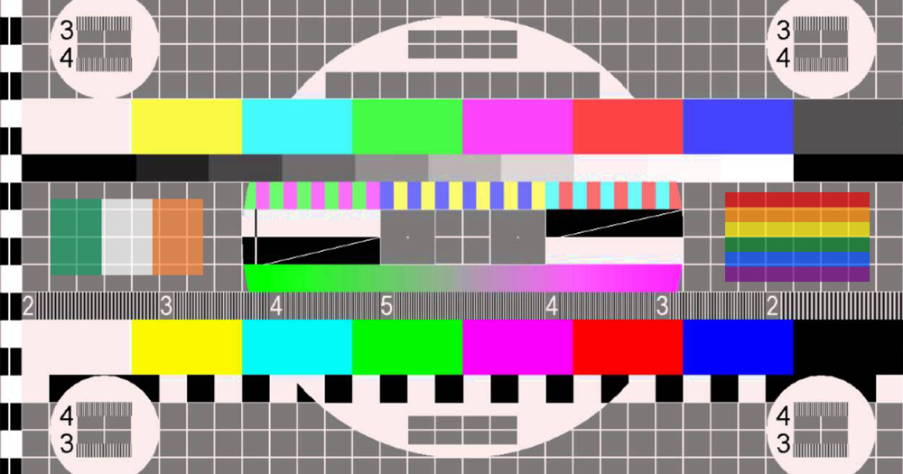 tv test pattern with lgbtq+ flag and irish flag on either side