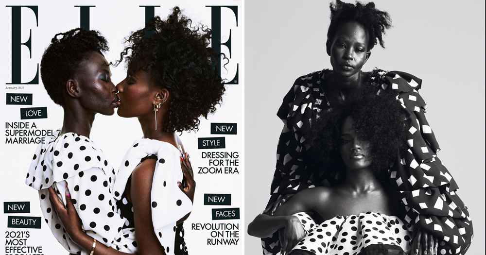 Model Aweng Ade-Chuol and wife kiss in two photographs from Elle magazine
