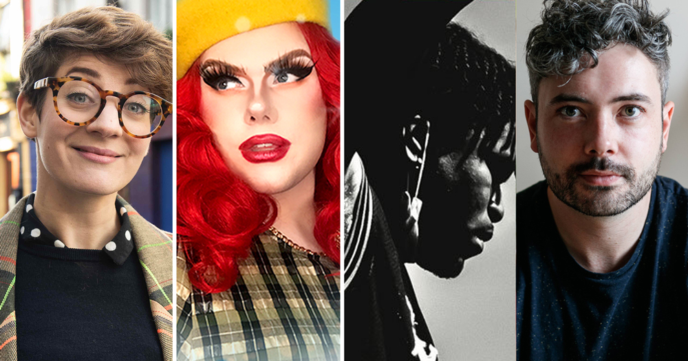 LGBTQ events Winter: Split screen of 4 different people, left-right woman, drag queen, black man, white man