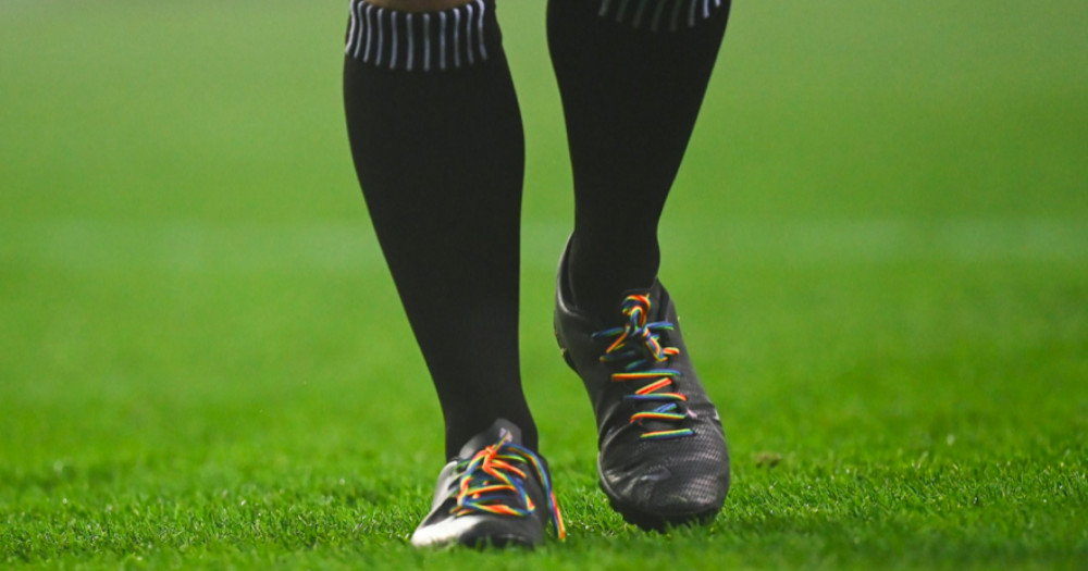 black shoes with rainbow laces lgbtq+