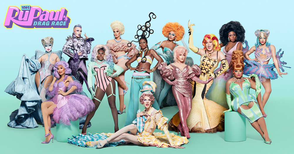 13 queens wearing pastel colours of the upcoming RuPaul Drag Race season 13