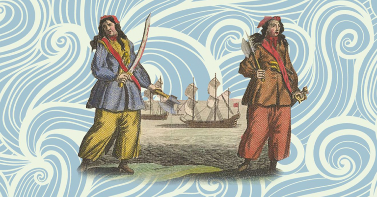 two true female queer pirates holding swords with a ship in the background