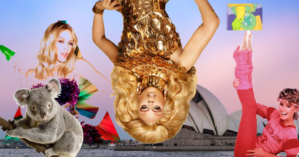 An upside drag queen with the Sydney Opera House, a koala, a woman doing exercises and a singer