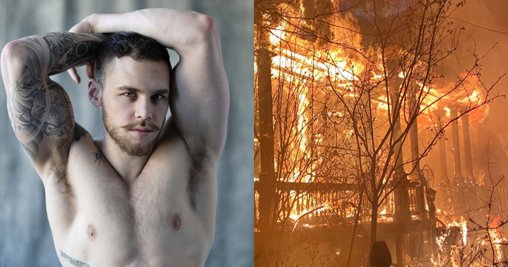 Split screen of a topless man and a burning house