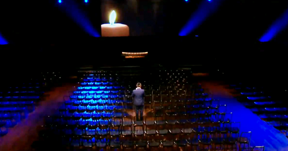 A still from the commemoration ceremony for victims of the Holocaust in the Mansion House, which was done to an empty audience