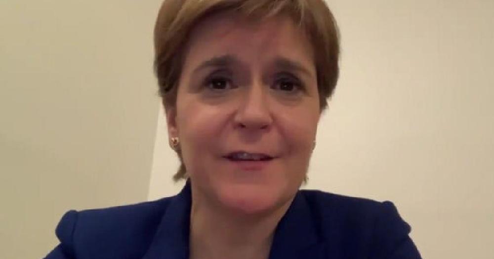 Nicola Sturgeon head of shoulders screenshot taken from her video