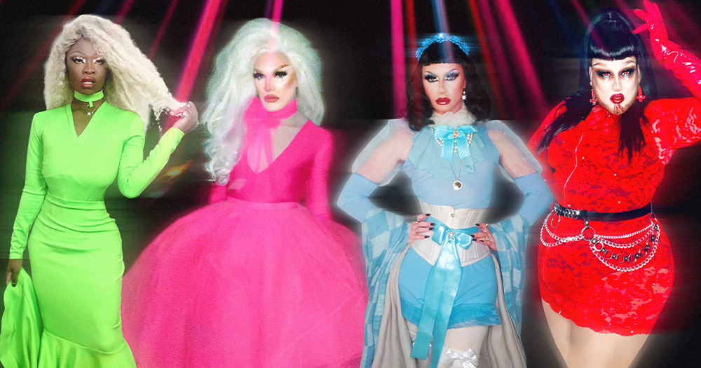 Four drag queens standing under disco lights