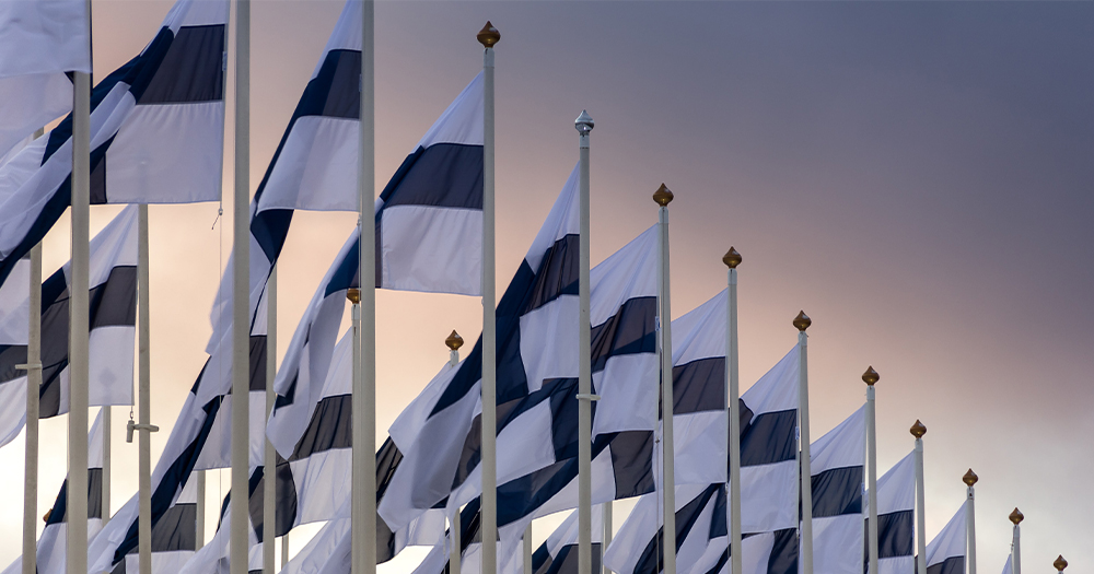 A group of Finland flags