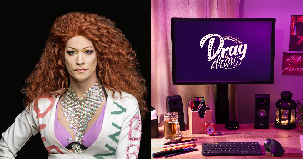 Split screen between a computer showing Drag and Draw online classes and Nicole Paige Brooks wearing a red wig and large silver necklace
