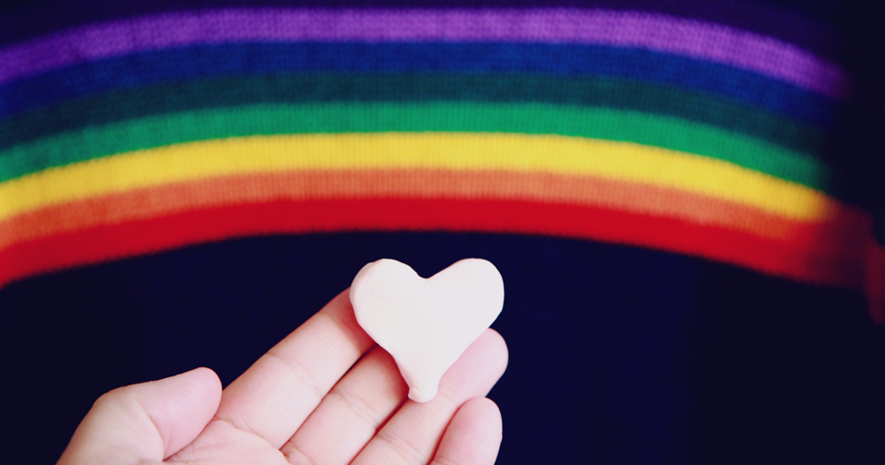 queer valentine's day gifts rainbow with a heart in front