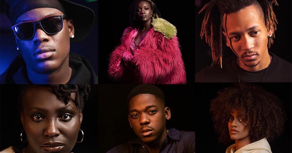 A split screen of six black men and women