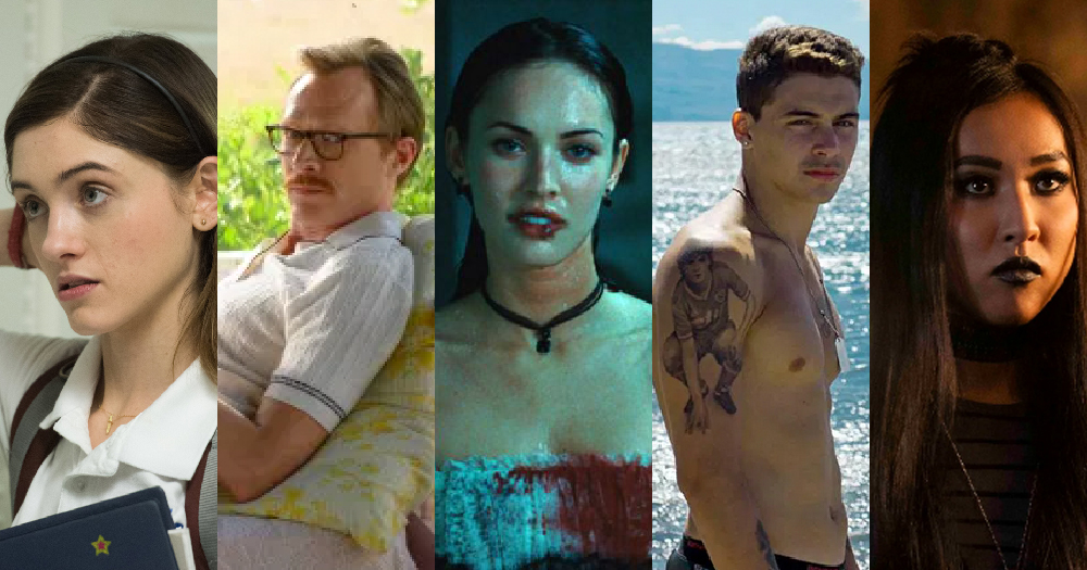 A split screen of five different stills from films