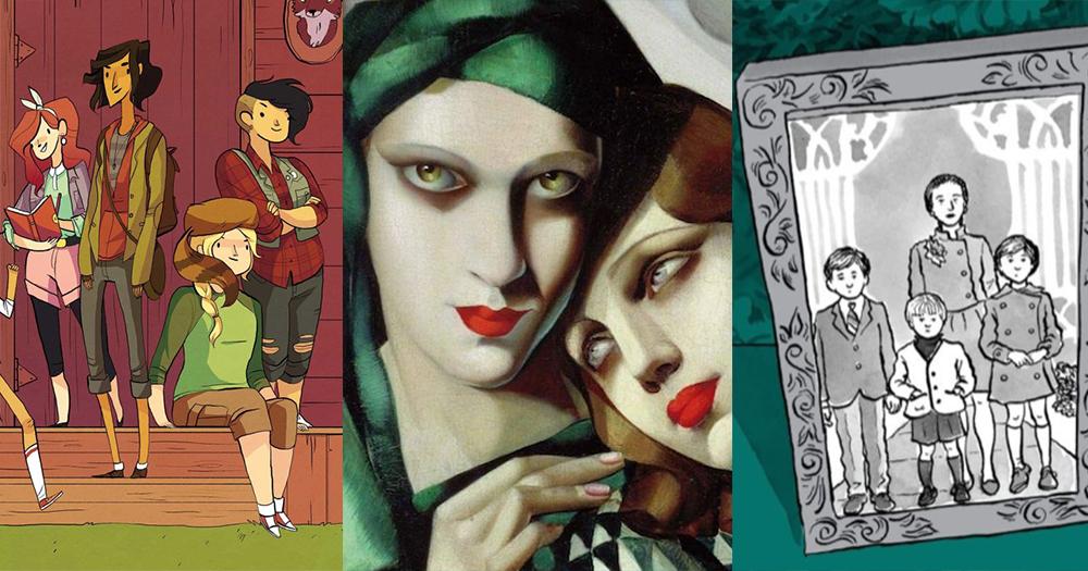 A splitscreen of three different illustrations of women