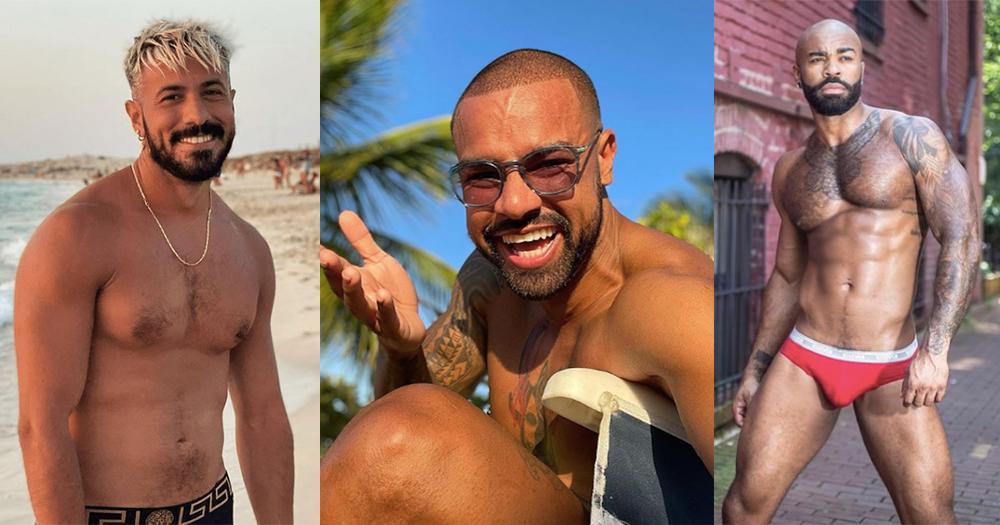 A split screen of three topless bearded men